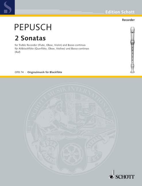 2-Sonatas-C-minor-D-minor-Pepusch-John-Christopher-treble-recorder-violin